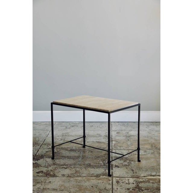 """DESIGN FRERES Contemporary Design Frères """"Diagramme"""" Wrought Iron and Travertine Side Tables - a Pair For Sale - Image 4 of 11"""