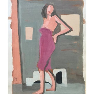 """Mid Century Bay Area Figurative Painting """"Angelina"""" For Sale"""
