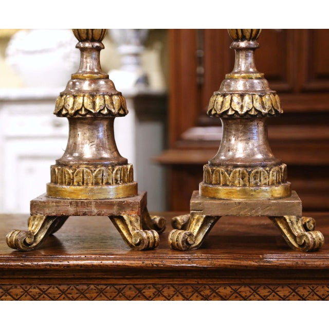 Pair of 19th Century Italian Carved Silver and Gilt Candle Holders For Sale - Image 4 of 12