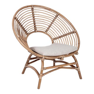Boho Round Chair, Camel, Rattan For Sale