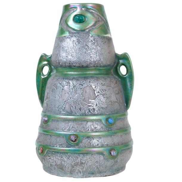 Jeweled Austrian Art Nouveau Vase - Image 2 of 3