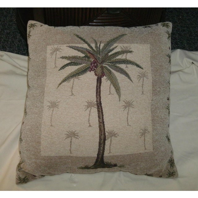 Vintage Boho Chic Coconut Palm Tree Accent Pillow For Sale - Image 4 of 5