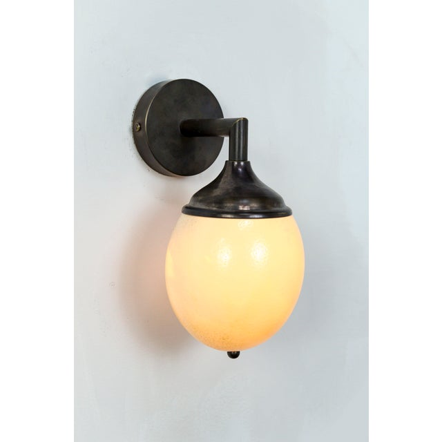 Ostrich Egg Cast Brass Arm Sconce For Sale - Image 5 of 11