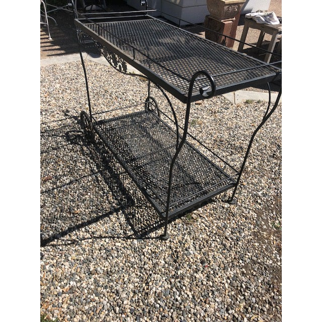 Russell Woodard Vintage Russel Woodard Wrought Iron Drink/Bar/Flower Pot Cart For Sale - Image 4 of 7