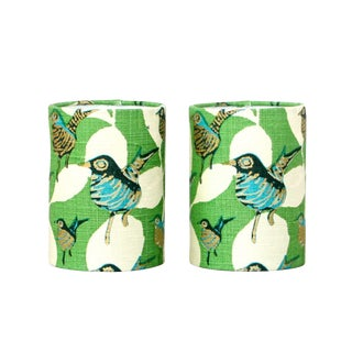 Modern Blue and Gold Bird Sconce Lampshades -a Pair For Sale