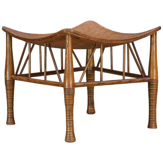 Old Victorian Liberty Thebes Stool Bohemian Egyptian Revival Rustic Cabin Modern For Sale
