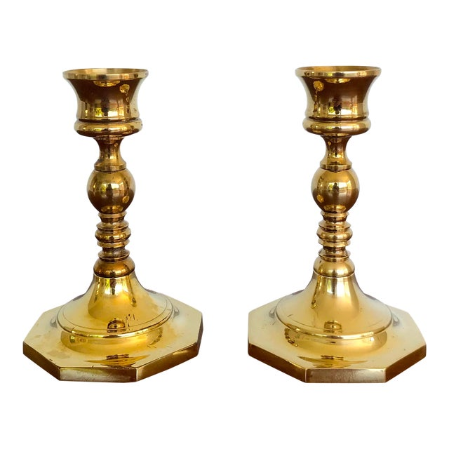 Mid-Century Brass Octagonal Base Candlesticks - a Pair For Sale
