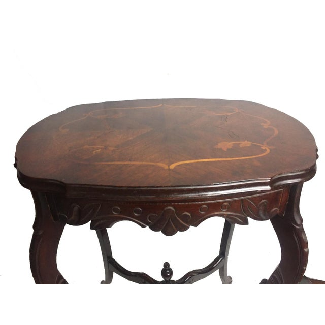 Marquetry Wood Inlay French Provincial Side Table - Image 2 of 5