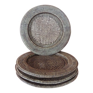 "Set of ""4"" Round Rattan Woven Plate Chargers From Burma For Sale"