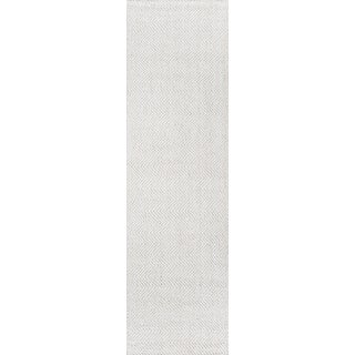 "Erin Gates by Momeni Ledgebrook Washington Ivory Runner Hand Woven Area Rug - 2'3"" X 8' For Sale"