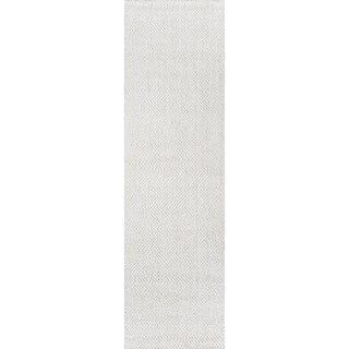 "Erin Gates by Momeni Ledgebrook Washington Ivory Runner Hand Woven Area Rug - 2'3"" X 8' For Sale"