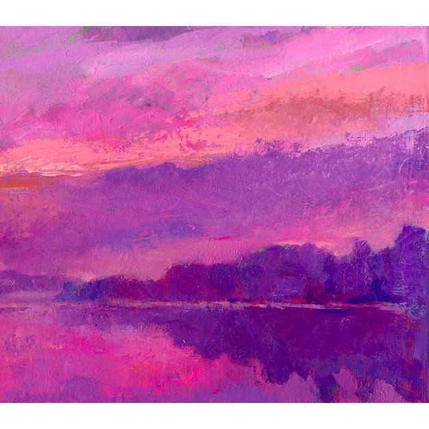 This contemporary print depicts a lakeside at dawn, by artist Amy Griffith Colley. This is a gicleeof the original...
