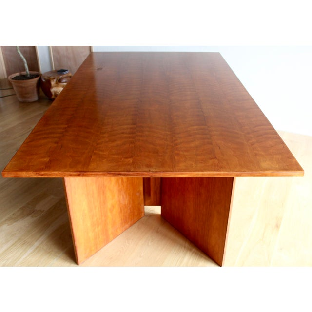 Frank Lloyd Wright Vintage Custom Usonian Frank Lloyd Wright Taliesin Style Prairie Arts and Crafts Cherry Expanding Dining Table, Seats 8-16+ For Sale - Image 4 of 13