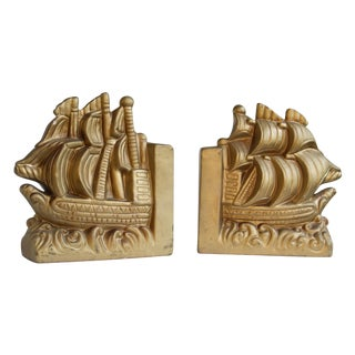 Gold Nautical Book Ends - A Pair For Sale