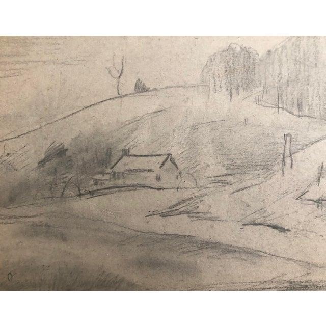 American 1930s Vintage Eliot Clark Kent, Connecticut Impressionist Inspired Landscape Drawing For Sale - Image 3 of 4