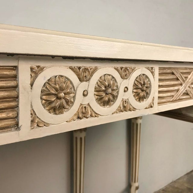Gold Antique Italian Neoclassical Painted Sofa Table ~ Vanity ~ Writing Desk For Sale - Image 8 of 13