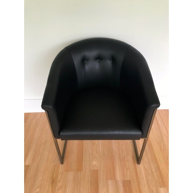 J L F Collections Black Leather Barrel Chairs - a Pair For Sale - Image 4 of 9