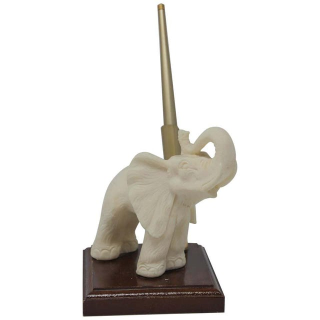 Vintage White Elephant Sculpture Pen Holder For Sale - Image 13 of 13