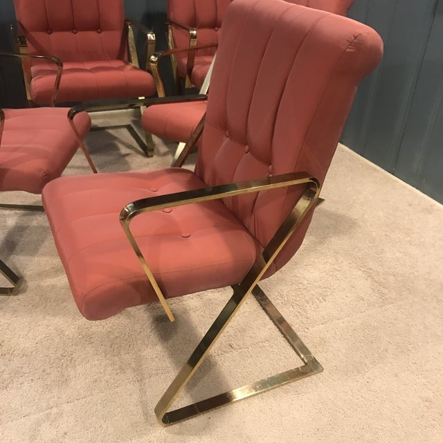 Milo Baughman Styled Brass Dining Chairs - Set of 6 - Image 3 of 11