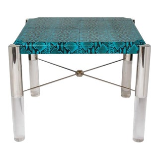 Spectacular Turquoise Leather and Lucite Game Table For Sale