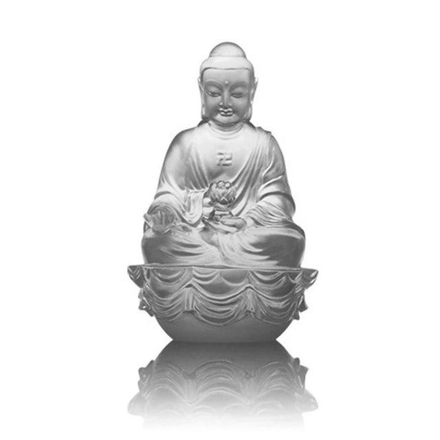 "LIULI Crystal Art Crystal ""Present Mindfulness"" Amitabha Buddha, Guardians of Peace, Powder White For Sale - Image 4 of 4"
