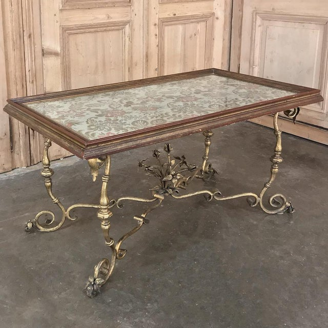 Antique Italian Wrought Iron & Glass Top Coffee Table For Sale In Dallas - Image 6 of 12