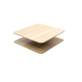 Mid-Century Modern Square Travertine and Chrome Coffee Table For Sale