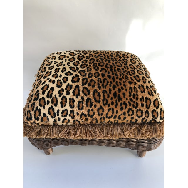 1980s Vintage Boho Chic Hollywood Glam Fringed Wicker Leopard Stool For Sale - Image 5 of 8