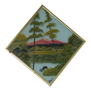 Vintage 1960's Asian Landscape Scene Framed Signed Oil Painting on Diamond Shaped Glass For Sale