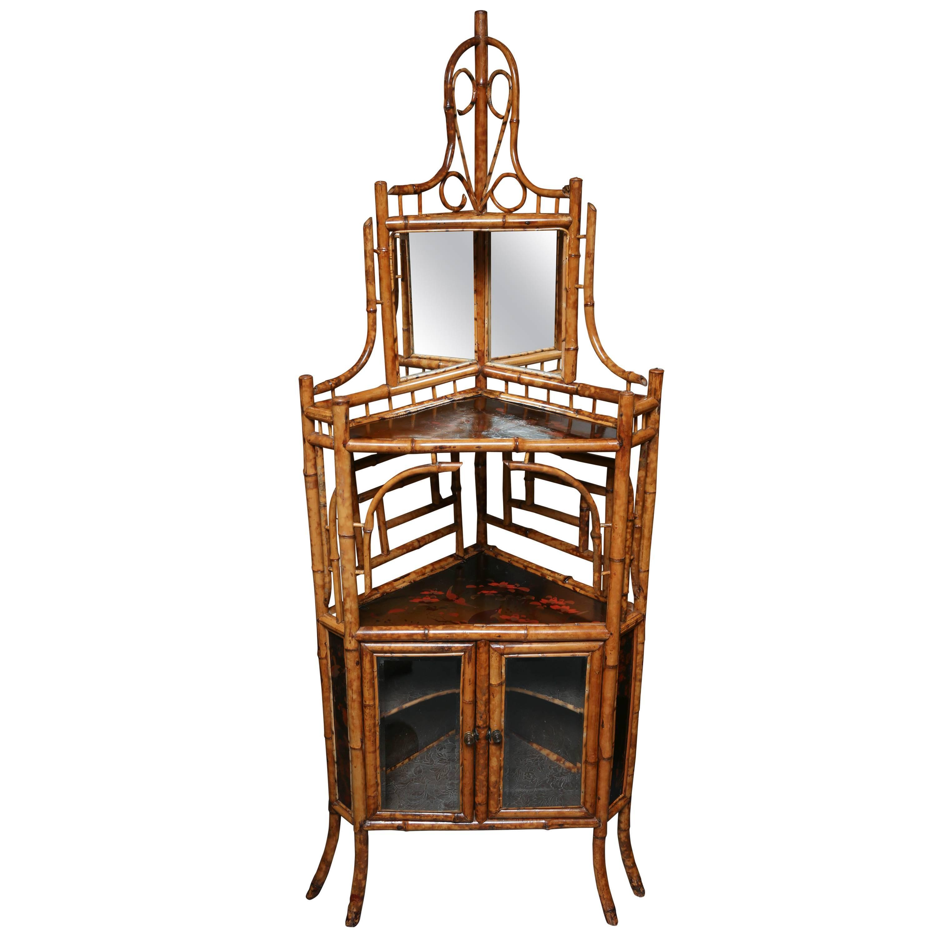 Exceptionnel Brown Superb 19th Century English Bamboo Corner Cabinet For Sale   Image 8  Of 8