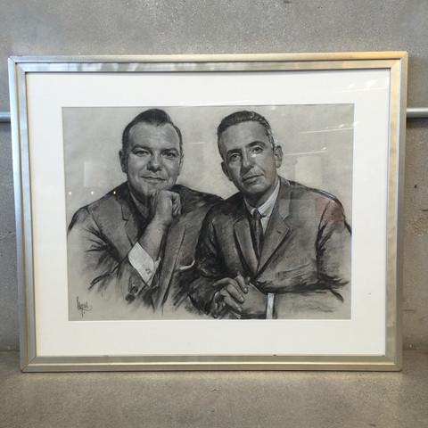 1950s 1960's Framed Charcoal Portrait Drawing For Sale - Image 5 of 5