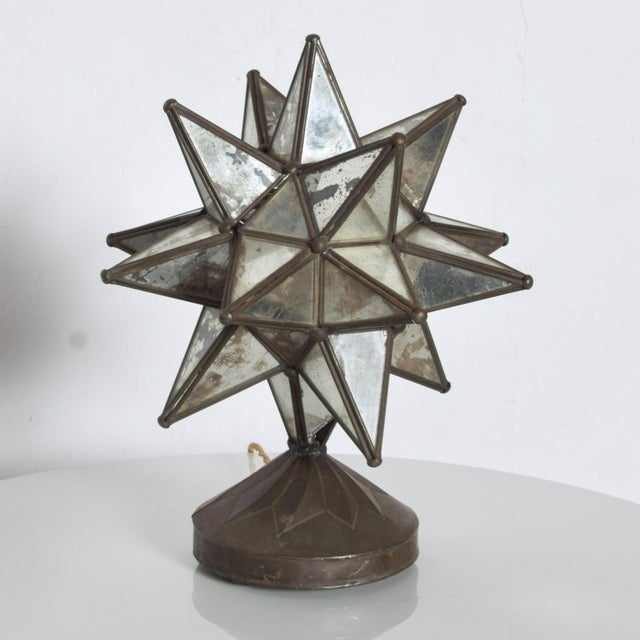 1960s Vintage Art Deco Glass Star Table Lamp on Patinated Brass Base, Mexico For Sale - Image 11 of 11