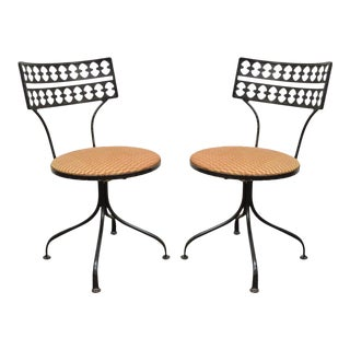 Pair Gallo Original Mid Century Modern Wrought Iron Swivel Chairs Salterini Style For Sale