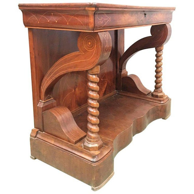 20th Century Biedermeier Style Marquetry Spanish Console Table With Drawer For Sale - Image 10 of 10