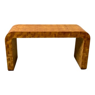 Patchwork Burlwood Console Table / Desk For Sale