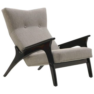 Adrian Pearsall High Back Lounge Chair, Black Frame With Gray Fabric, Excellent For Sale