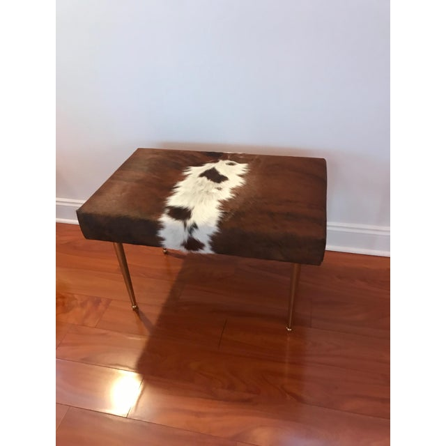 2010s Modern Cow Hide Upholstered Bench With Brass Legs For Sale - Image 5 of 13