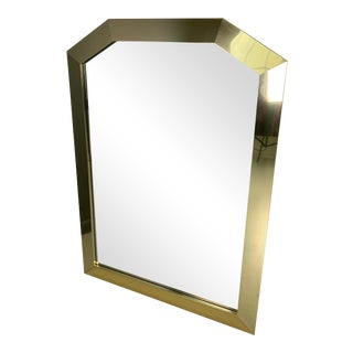 1980s Ello Mid-Century Brass Framed Angular Mirror For Sale