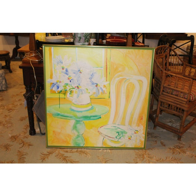 Yellow boho chic still life of a chair, table, and lavender flowers. The piece was made in the mid 20th century.