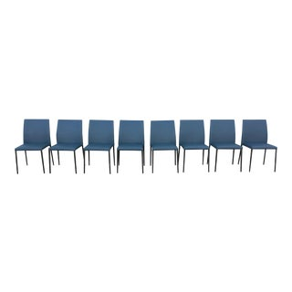Walter Knoll Peacock Blue Leather Dining Chairs - Set of 8