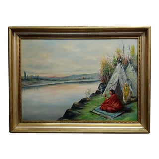 C. Faunce - Native American Smoking His Pipe by a Lake -Oil Painting - C.1910s For Sale