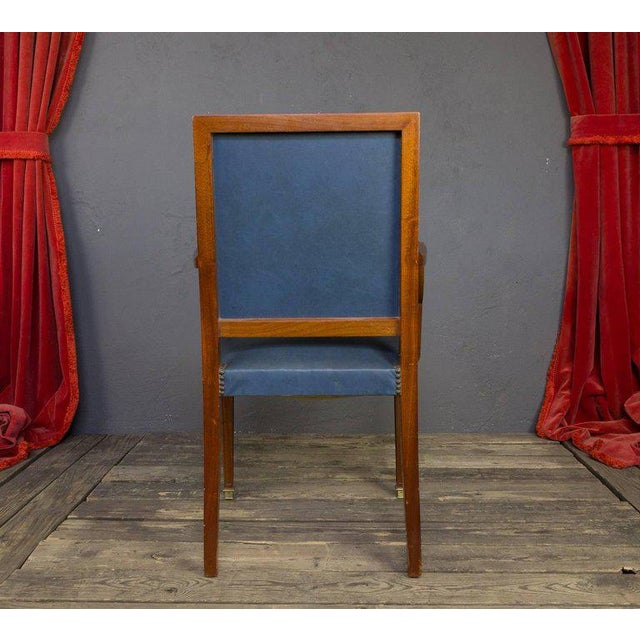 Pair of French, 1940s Mahogany and Leather Armchairs For Sale In New York - Image 6 of 10