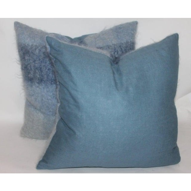 Early 21st Century Mohair or Lambs Wool Blue Pillows - Set of 4 For Sale - Image 5 of 7