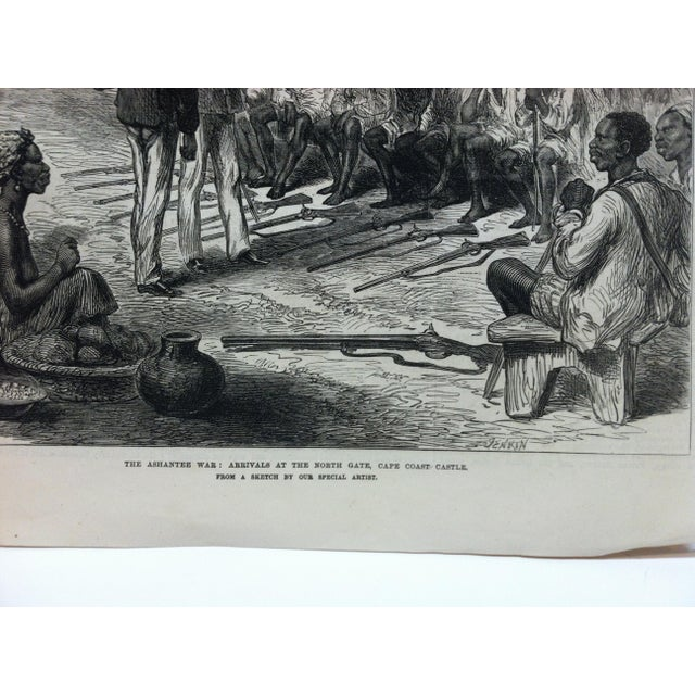 "1874 Antique Illustrated London News ""The Ashantee War: Arrivals at the North Gate - Cape Coast Castle"" Print For Sale - Image 4 of 5"