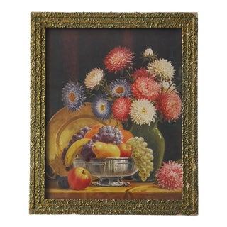 Art Deco Still Life Fruit & Mums Print by Schulze For Sale