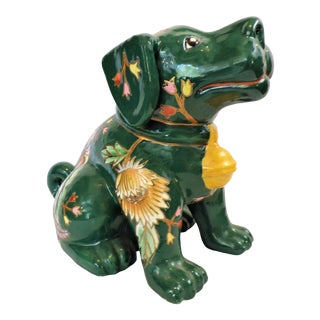 Vintage Maitland-Smith Green Porcelain Staffordshire Dog For Sale