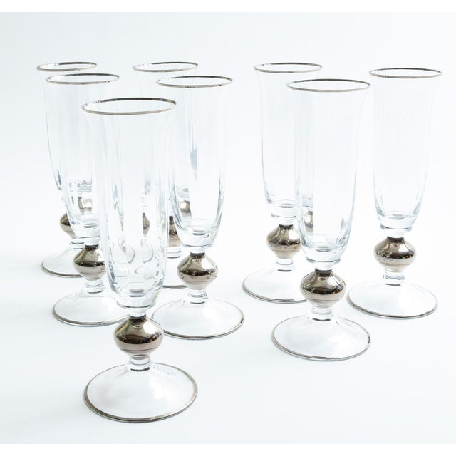 Mid 20th Century Art Deco Barware Crystal Champagne Flute Set Eight Pieces For Sale - Image 5 of 12