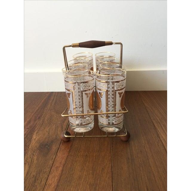 Gold Highball Glasses With Caddy - Set of 8 - Image 4 of 7