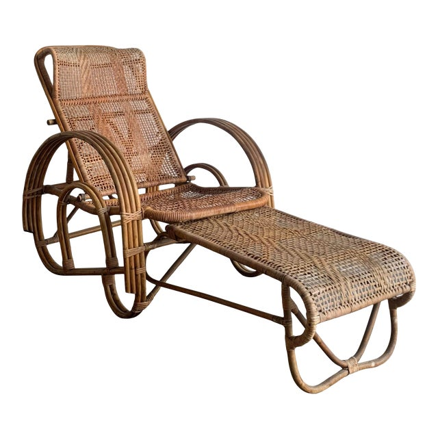 Woven Cane Lounge Chair with Pull Out Foot Rest For Sale