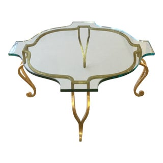 Gilt Iron Glass Top Table With Sculpted Glass